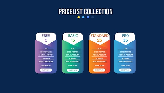 Pricing plan banners infographic template