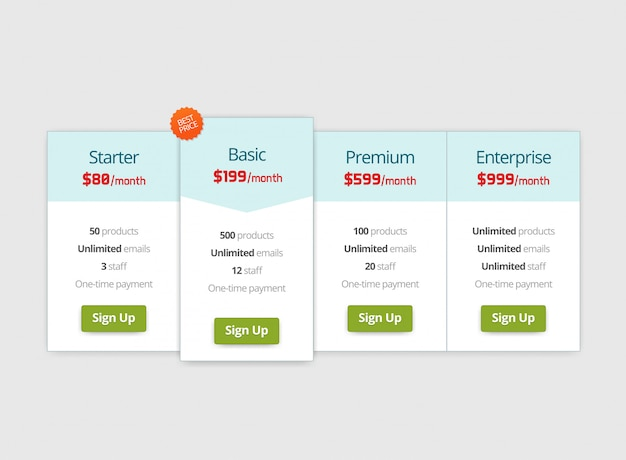 Pricing plan web page template