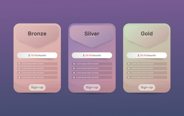 Pricing plans. table price comparison for web.