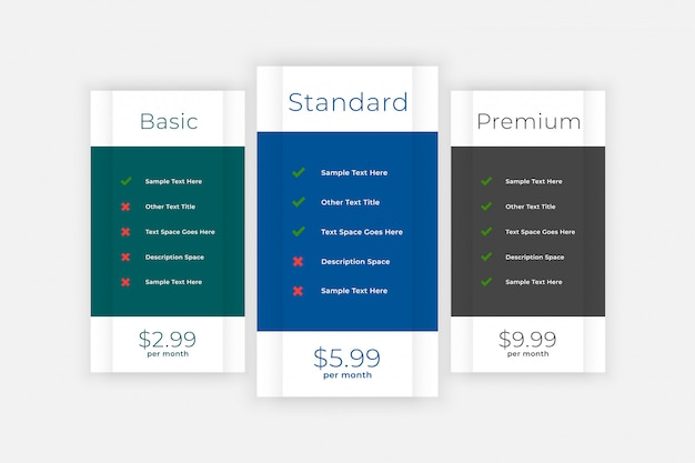 Pricing table comparison box for website and app