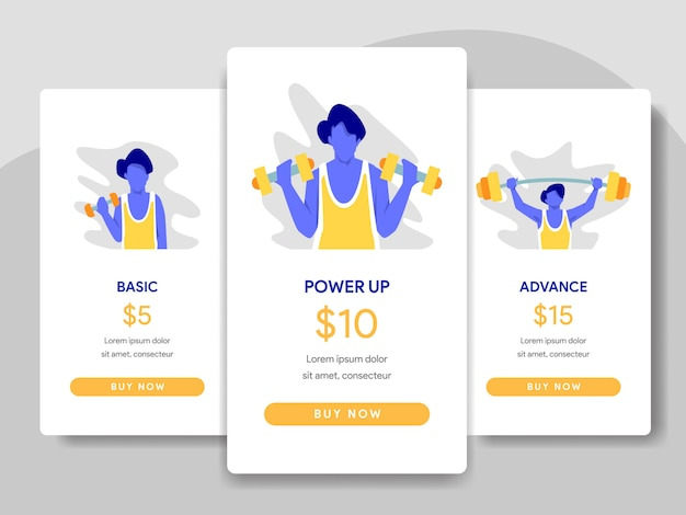 Pricing table comparison illustration with bodybuilding concept