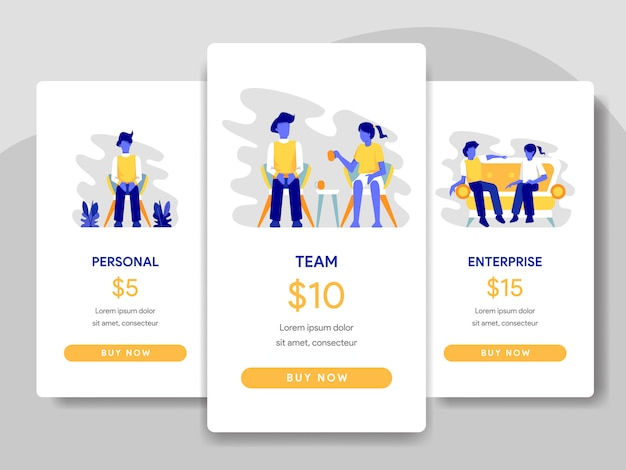 Pricing table comparison illustration with teamwork concept