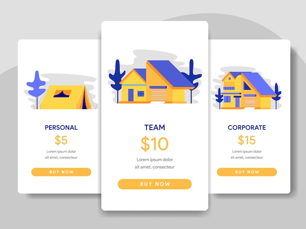 Pricing table comparison with building, house concept