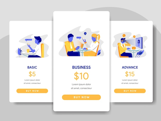 Pricing table comparison with office illustration