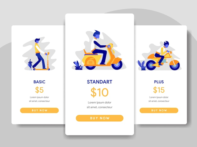Pricing table comparison with scooter, motorcycles illustration
