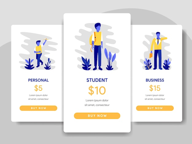 Pricing table comparison with student and businessman concept