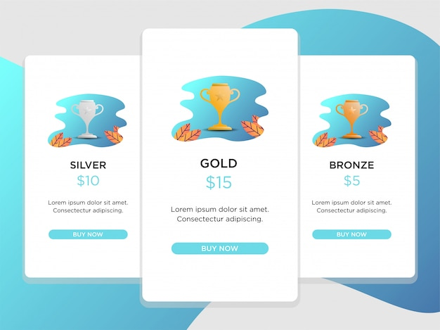 Pricing table comparison with  trophy illustration
