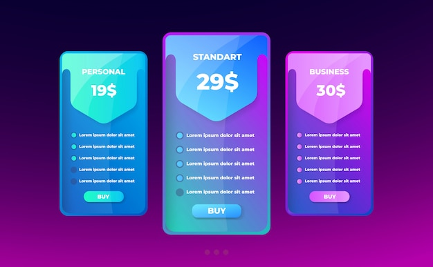 Pricing table concept.