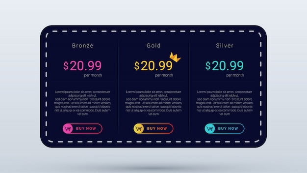 Pricing table dark  with stitches and dot motif, pricing plan template with modern and simple .