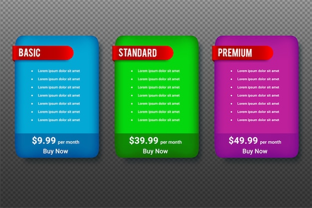 Pricing table design for business