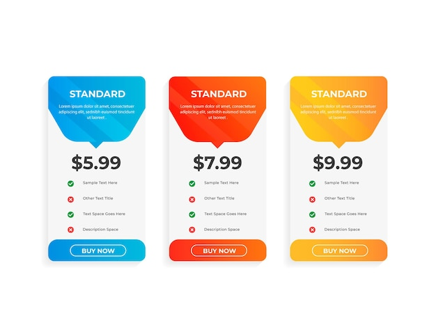 Pricing table design with subscription plans
