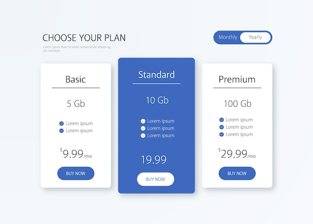 Pricing table illustration