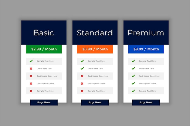 Pricing table interface template for business