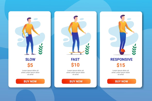 Pricing table landing page