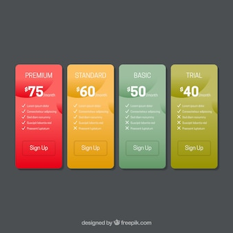 Pricing table pack