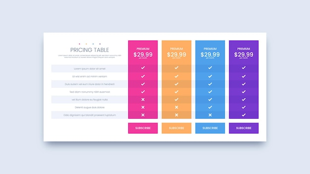 Pricing table plans design for business