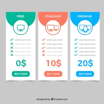 Pricing table set