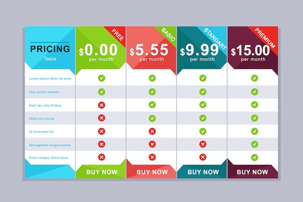 Pricing table . simple price list design