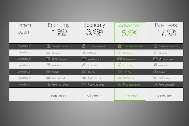 Pricing table in tariff design style for websites cloud storage