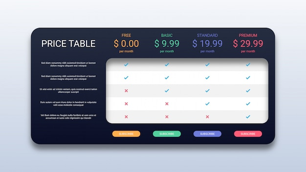 Pricing table template for business