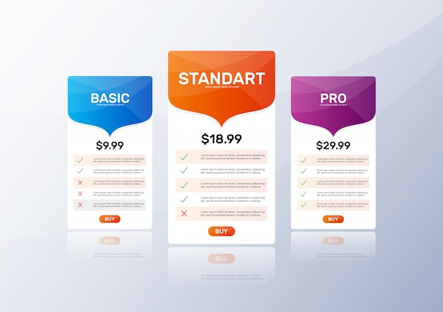 Pricing table template set