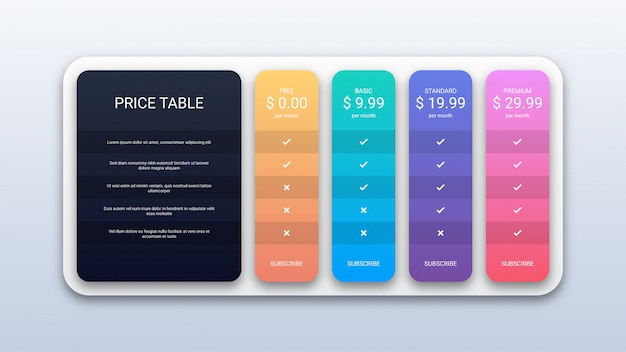 Pricing table template for website and application