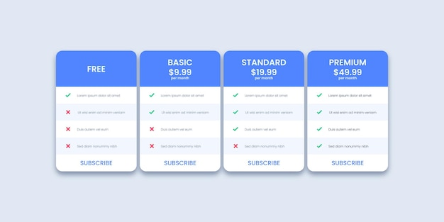 Pricing table template for website