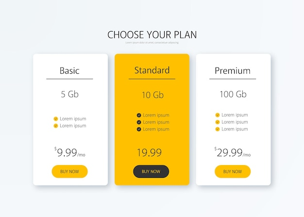 Pricing table vector illustration