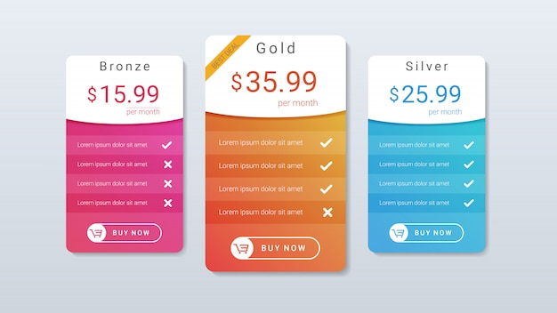 Pricing table with colorful gradient color