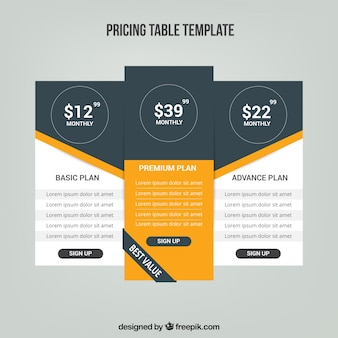 Pricing tables with different rates