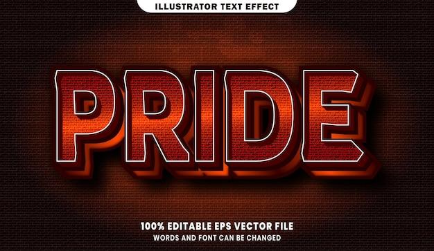Гордость 3d эффект редактируемого стиля текста