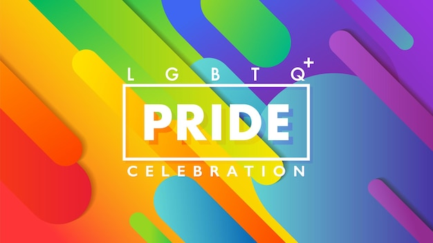 Pride celebration sign with frame over a colorful geometric rainbow