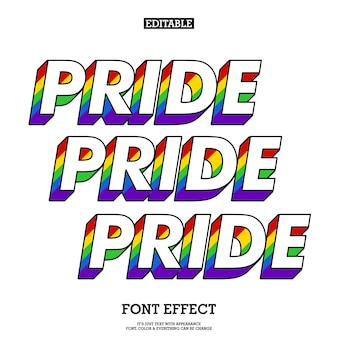 Pride colorfull font with rainbow 3d effect