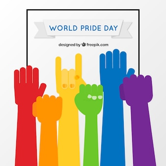 Pride day background with colorful hands