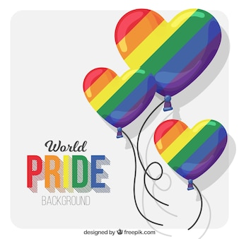 Pride day background with colorful heart balloons