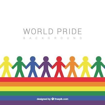 Pride day background with silhouettes of colors
