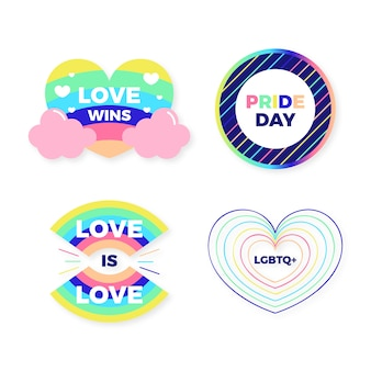Pride day badges illustration pack