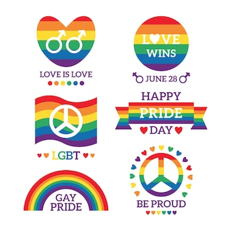 Pride day badges illustration set