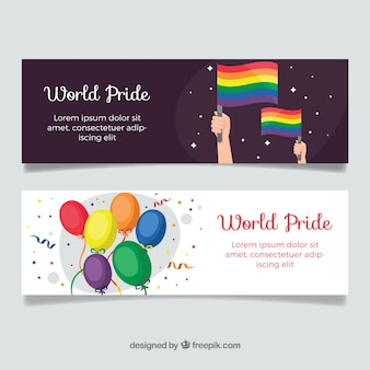 Pride day banners with flags and balloons
