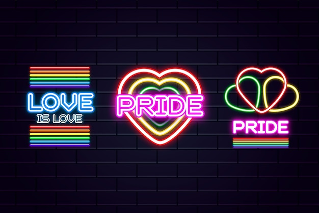 Pride day celebration with neon signs