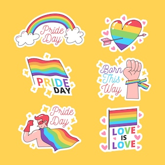 Pride day concept and coloured labels