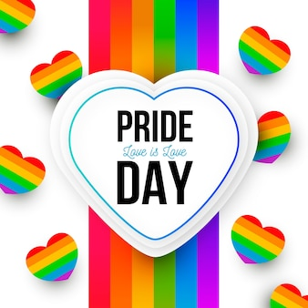 Pride day concept rainbow hearts