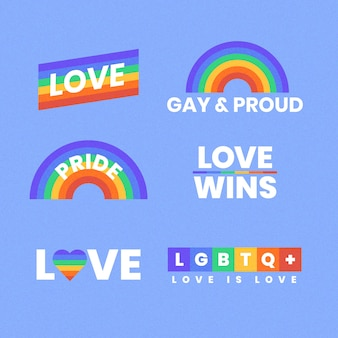 Pride day concept rainbow labels