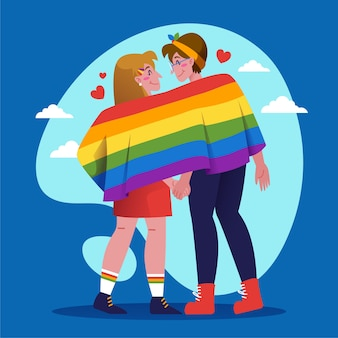 Pride day concept with couple holding flag