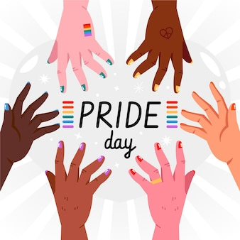 Концепция дня гордости с руками и радугой
