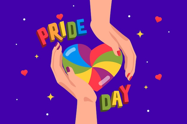 Pride day concept with hands holding rainbow heart