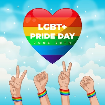 Pride day concept with hearts and hands