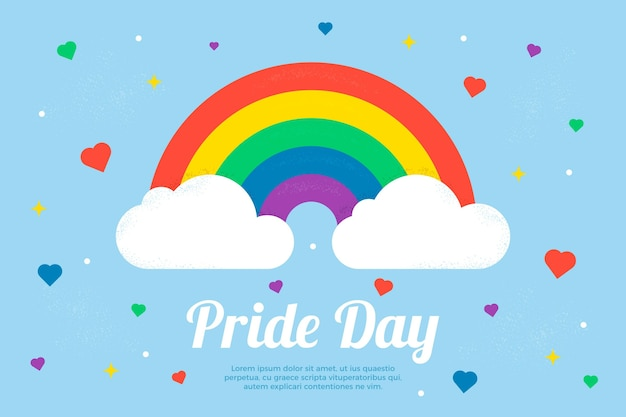 Pride day concept with rainbow and clouds
