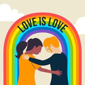 Пара гордости и иллюстрация радуги
