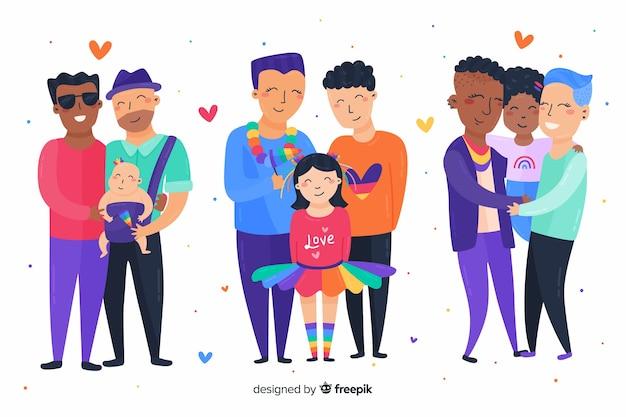 プライドデイカップルと家族の集まり